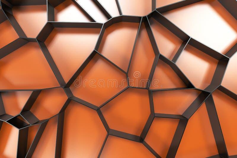 Abstrakcjonistyczna czerni 3d voronoi kratownica na barwionym tle ilustracja wektor