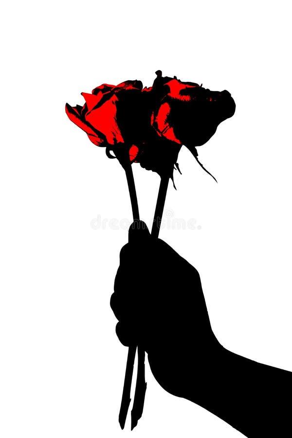 Abstrakcjonistyczna czerwień i czerń dla mężczyzna ręki mienia czerwieni pojedynczej róży zdjęcia royalty free