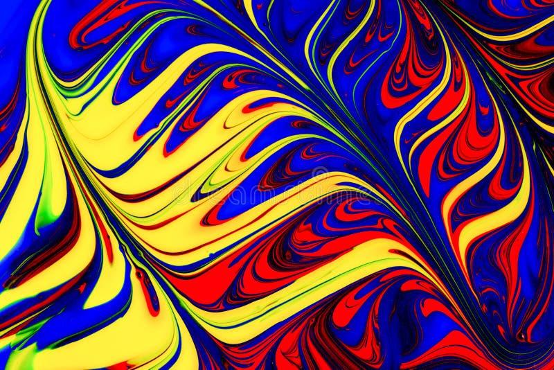 Abstrakcjonistyczna czerwień, kolor żółty i błękitni farba zawijasy, ilustracja wektor
