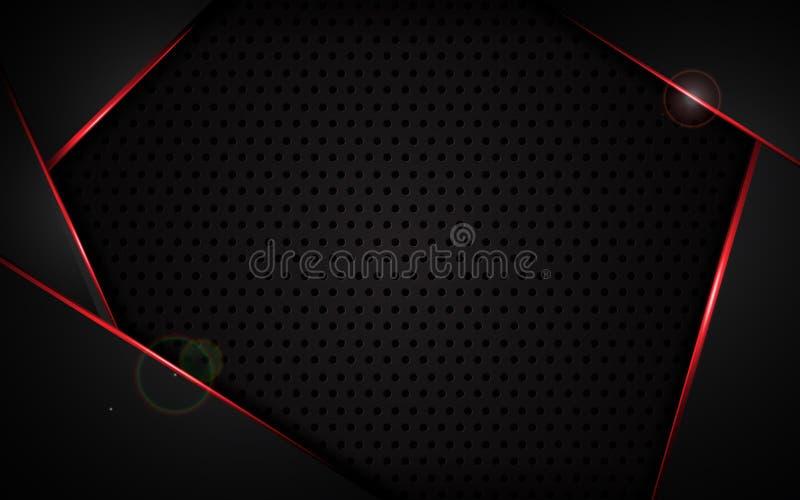 Abstrakcjonistyczna czerwieni rama z stalowym tekstury dziury wzorem bawi się technika szablonu projekta pojęcia nowożytnego tło royalty ilustracja