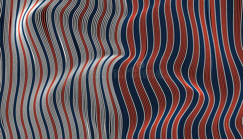 Abstrakcjonistyczna czerwona błękitna i biała falowa tkaniny tekstura ilustracja wektor