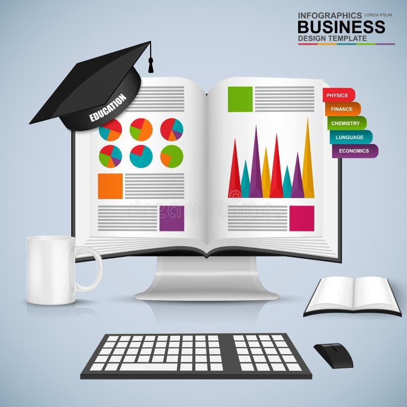 Abstrakcjonistyczna 3D biznesu książki edukacja infographic ilustracja wektor