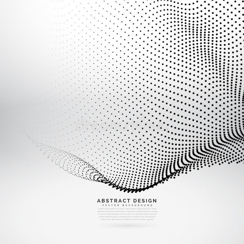 Abstrakcjonistyczna 3d cząsteczki fala siatka w cyber technologii stylu ilustracja wektor