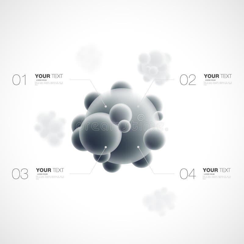 Abstrakcjonistyczna 3d molekuła z infographics szablonem dla twój zawartości ilustracji