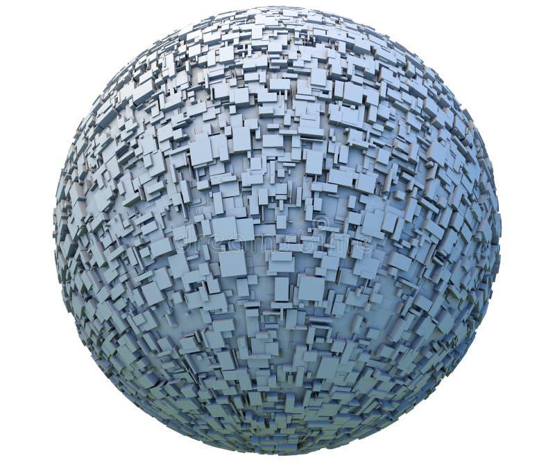Abstrakcjonistyczna 3d Obca planeta lub stacja kosmiczna Zakrywający fantastyka naukowa Kasetonujemy i Boksujemy ilustracji