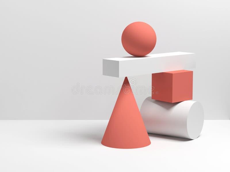 Abstrakcjonistyczna 3d równowagi wciąż życia instalacja royalty ilustracja