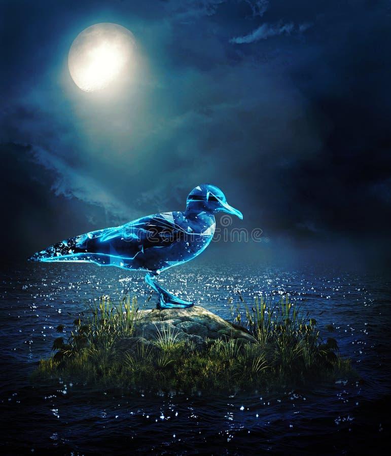 Abstrakcjonistyczna 3d renderingu ilustracja cyfrowy ptak na braku błyszczał księżyc światłem ilustracji