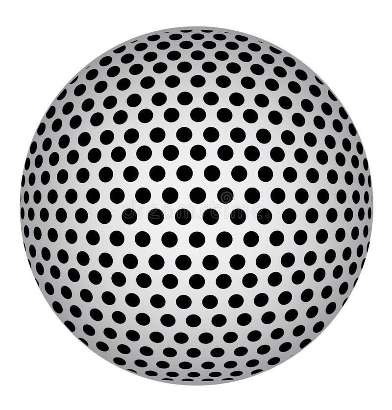 Abstrakcjonistyczna 3D sfera z Czarnymi okrąg kropkami również zwrócić corel ilustracji wektora ilustracja wektor