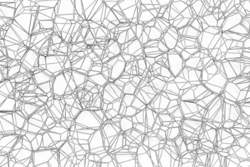 Abstrakcjonistyczna 3d voronoi kratownica na białym tle royalty ilustracja