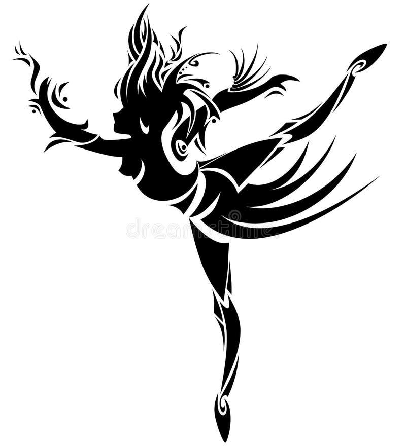 abstrakcjonistyczna dancingowa dziewczyna wektor ilustracji