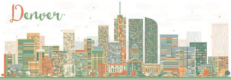 Abstrakcjonistyczna Denwerska linia horyzontu z kolorów budynkami ilustracja wektor