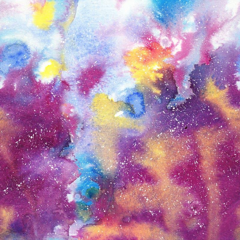 Abstrakcjonistyczna dymiąca galaxy akwareli tekstura, jaskrawa kolor paleta royalty ilustracja