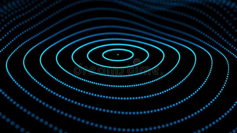 Abstrakcjonistyczna dynamiczna fala cząsteczki Sieć jaskrawe kropki lub punkty Du?y Dane cyfrowy t?o ?wiadczenia 3 d royalty ilustracja