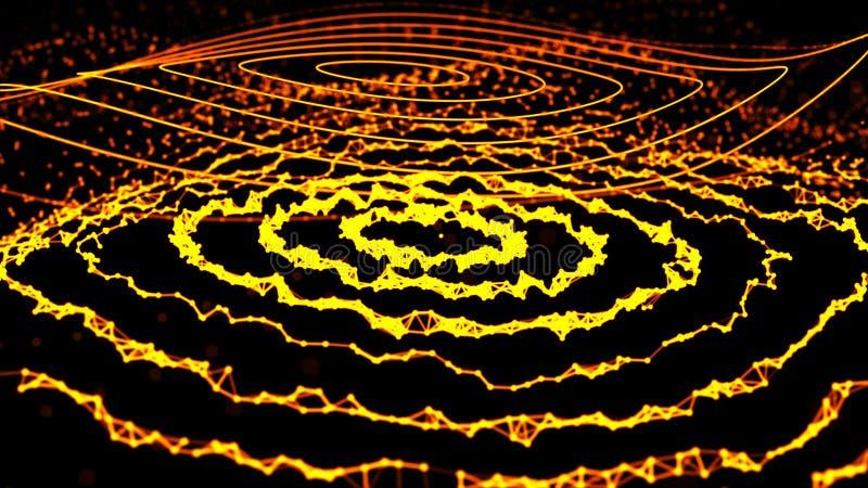 Abstrakcjonistyczna dynamiczna fala punkty i linie Sieć jaskrawe cząsteczki łączyć liniami Du?y Dane ?wiadczenia 3 d ilustracja wektor