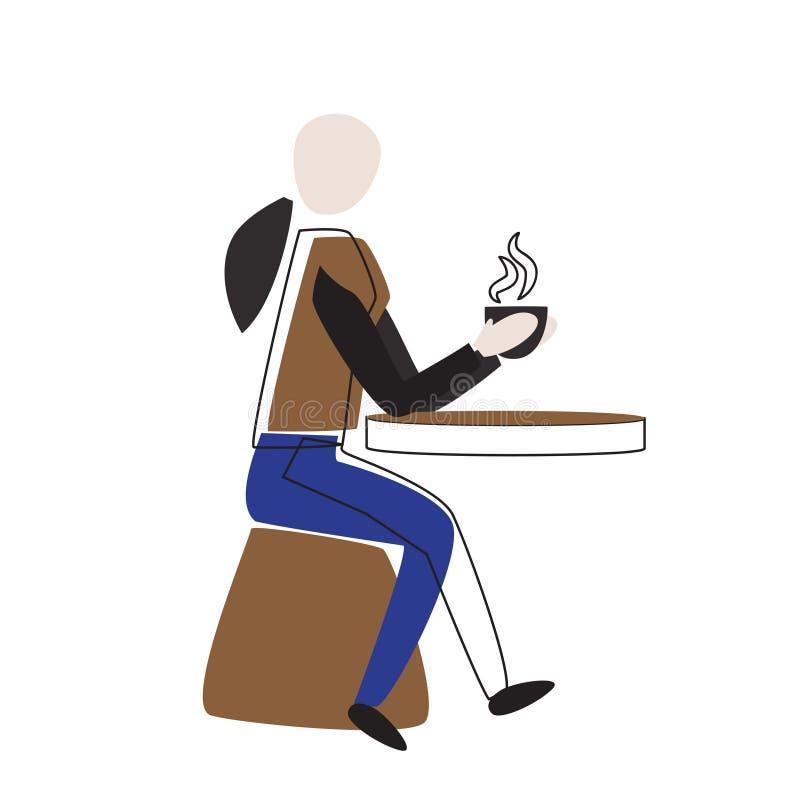 Abstrakcjonistyczna dziewczyna pije kawową wektorową ilustrację ilustracji