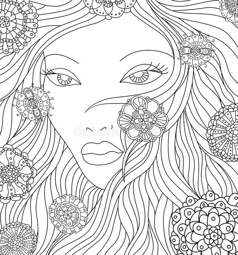Abstrakcjonistyczna dziewczyna z kwiatami zdjęcie stock