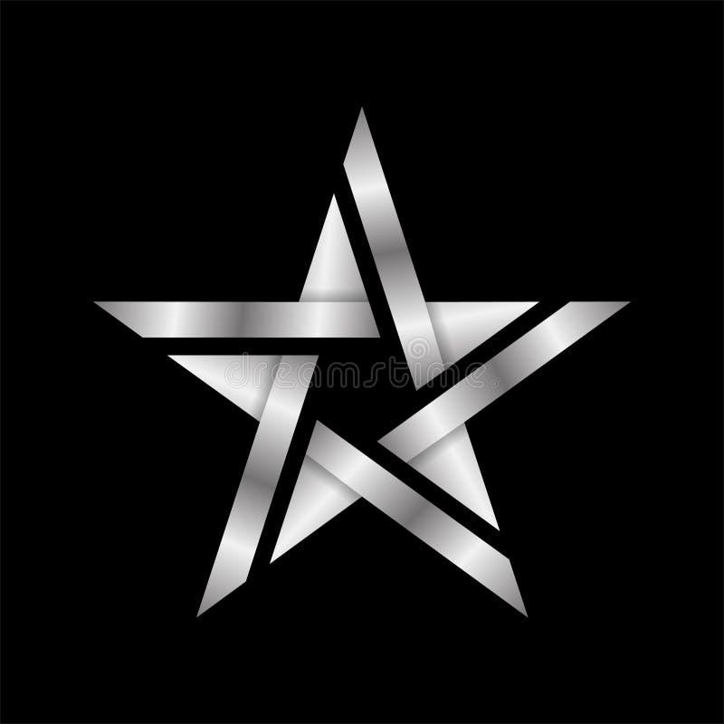 Abstrakcjonistyczna elegancka i nowożytna stylu srebra gwiazdy loga ikona odizolowywająca w czerni, eps 10 kartoteka royalty ilustracja