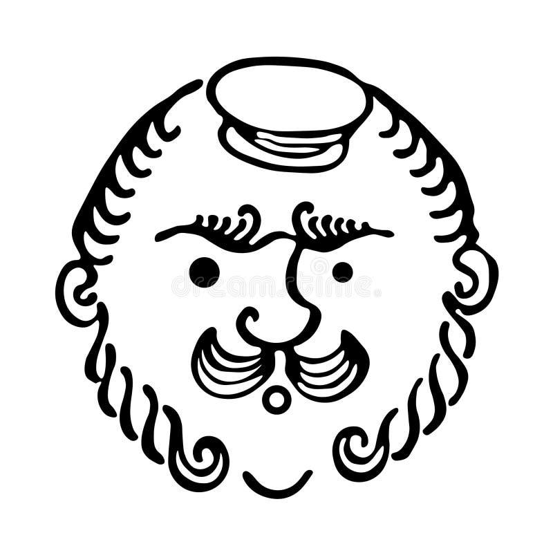 Abstrakcjonistyczna elegancka twarz brodaty mężczyzna z wąsy ilustracji
