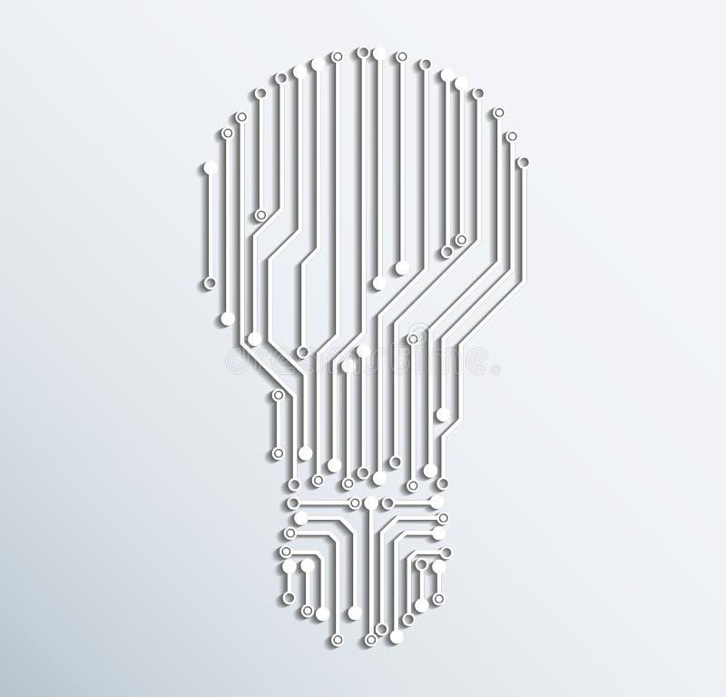 Abstrakcjonistyczna elektronicznego komputeru obwodu deski żarówki ikona Vecto ilustracja wektor