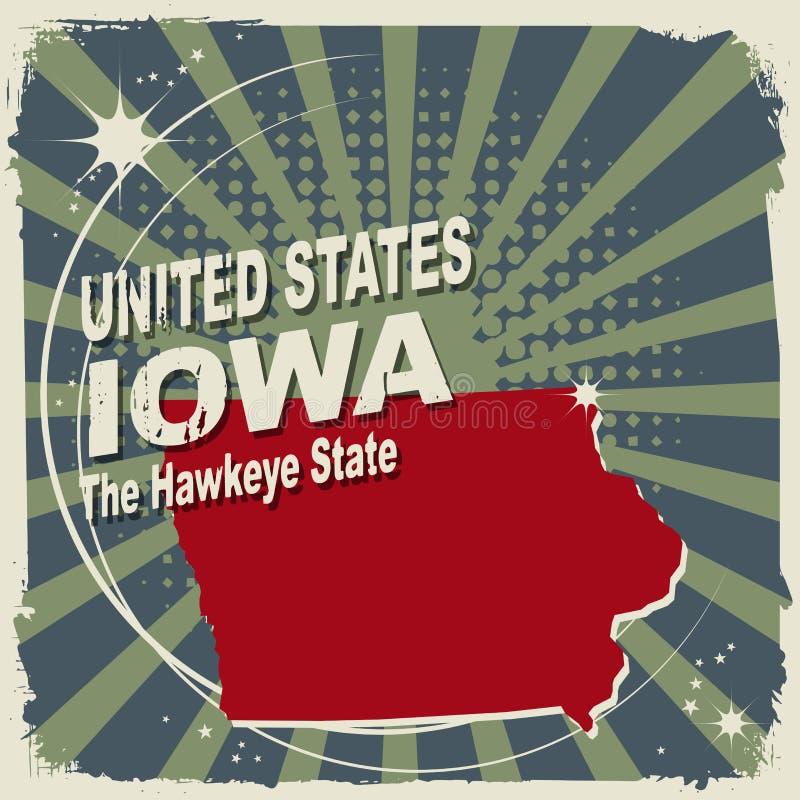 Abstrakcjonistyczna etykietka z imieniem i mapą Iowa ilustracji