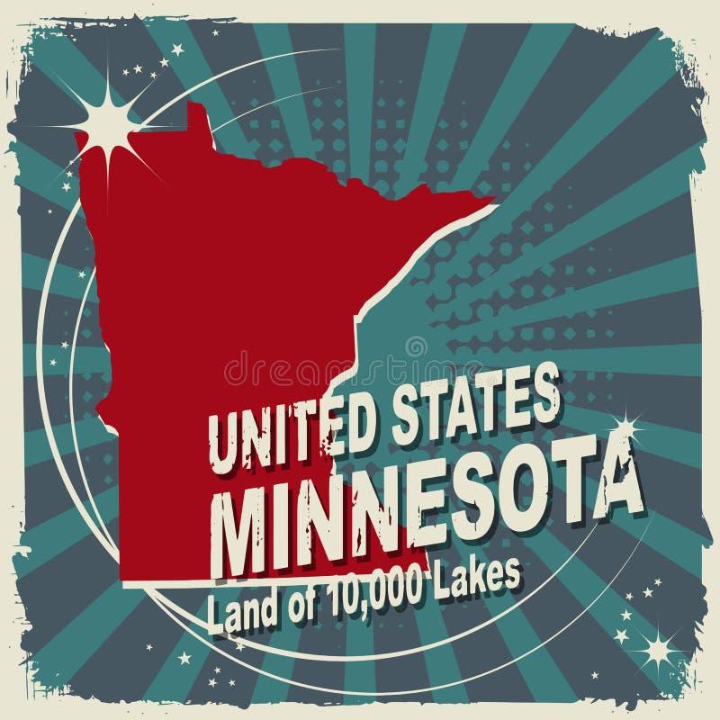 Abstrakcjonistyczna etykietka z imieniem i mapą Minnestoa ilustracja wektor