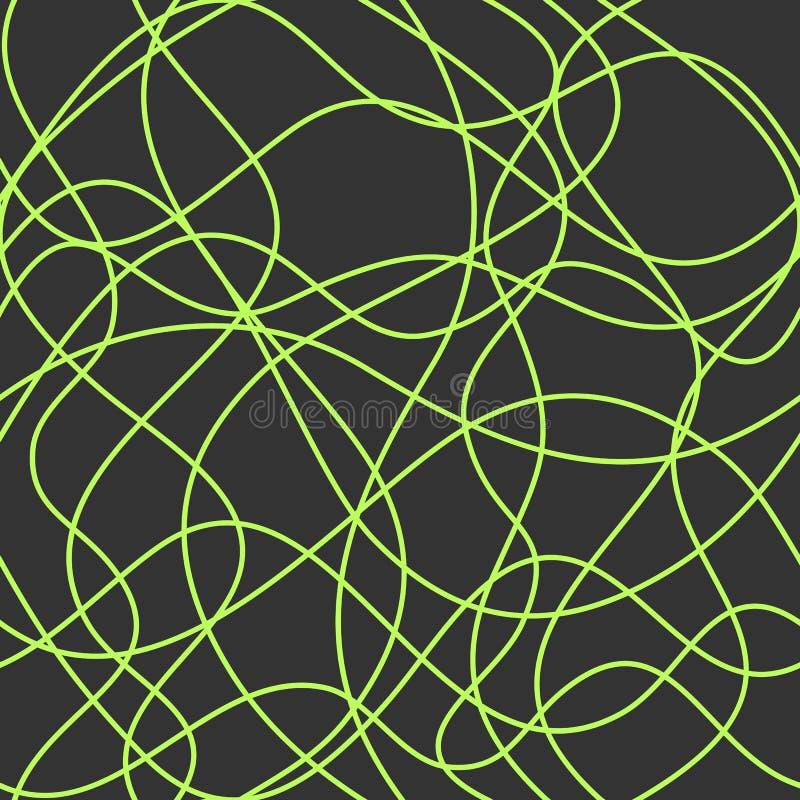Abstrakcjonistyczna falista linia wektor bezszwowy wzoru prosta zieleń przecina krzywy na zmroku - szary tło t?o powt?rkowy royalty ilustracja