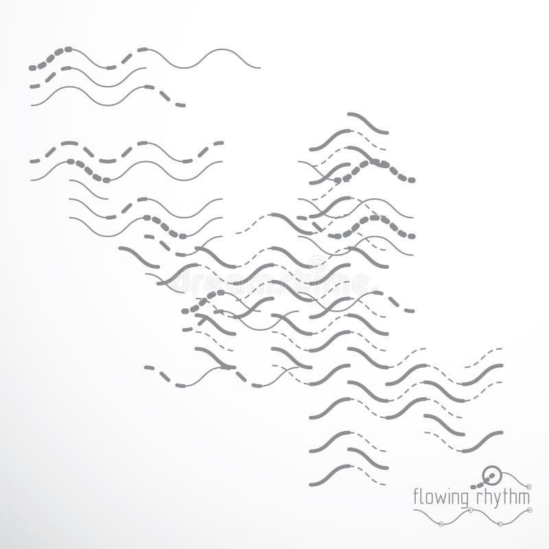 Abstrakcjonistyczna falista linia wektoru ilustracja Techniczny cybernetyczny pa ilustracji