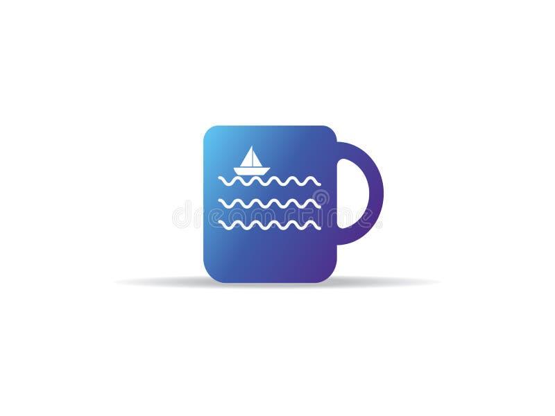 Abstrakcjonistyczna filiżanki ikona z morze fala statku loga łódkowatym symbolem royalty ilustracja