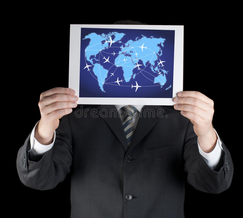 Abstrakcjonistyczna fotografia biznesowi mężczyzna trzyma mapę. obraz royalty free