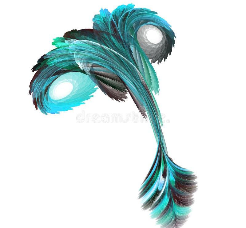 Abstrakcjonistyczna fractal ilustracja ślimakowaty bajecznie ptak odizolowywający nad bielem Sztuki fractal spirali scrolling fan royalty ilustracja