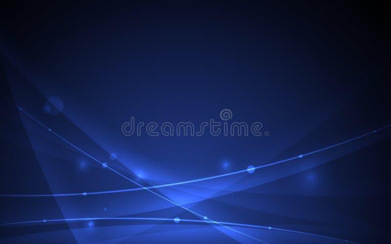 Abstrakcjonistyczna futurystyczna linii krzywa na czarnym błękitnym tle ilustracji