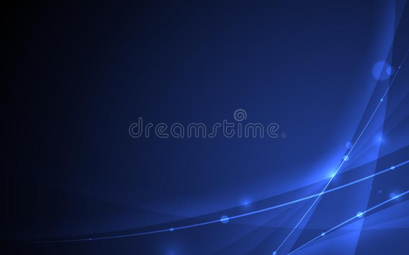 Abstrakcjonistyczna futurystyczna linii krzywa na czarnym błękitnym tle royalty ilustracja