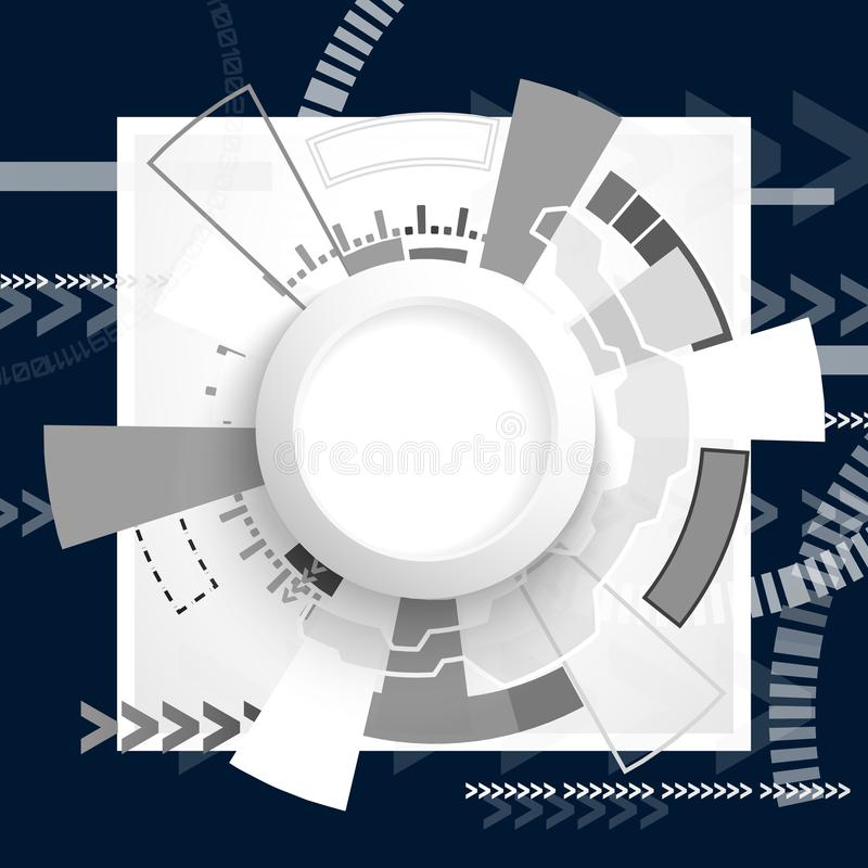 Abstrakcjonistyczna futurystyczna obwód deska, techniki technologii cyfrowej komputerowy pojęcie, Pusty bielu 3d papieru okrąg dl royalty ilustracja
