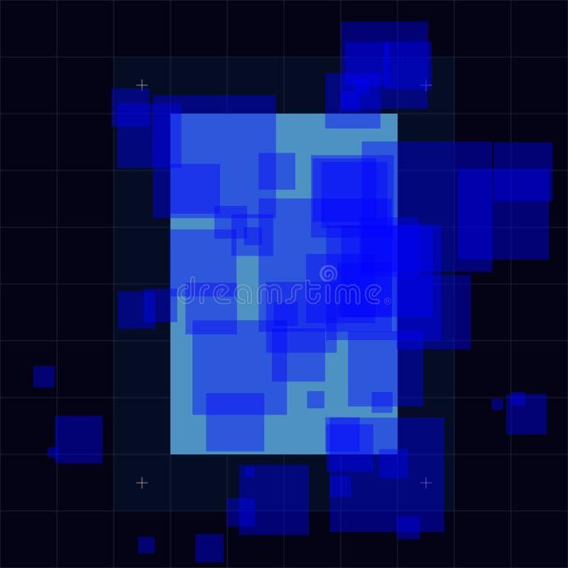 Abstrakcjonistyczna futurystyczna wektorowa ilustracja, nowoczesna technologia zmrok - błękitny barwiony tło Techniki pojęcie, cy ilustracji