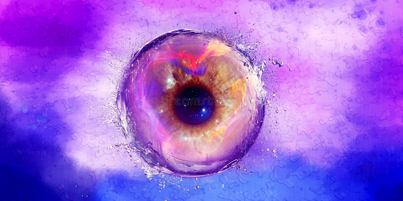 Abstrakcjonistyczna galaktyki oka piłka Bryzgająca z wodą ilustracja wektor