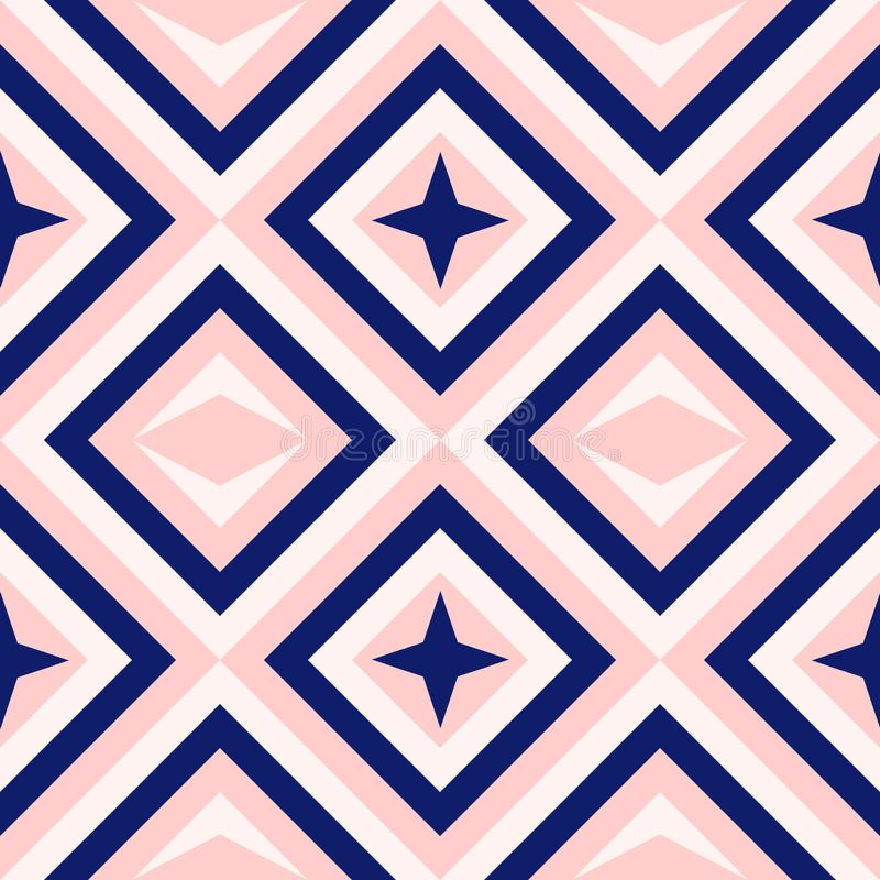 Abstrakcjonistyczna geometria w marynarki wojennej błękicie i rumieniec menchiach, diament kształtuje i gwiazdy mody wzór royalty ilustracja