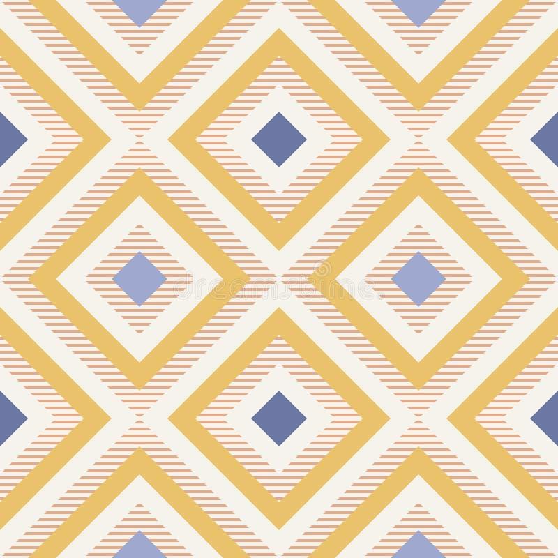 Abstrakcjonistyczna geometria w retro kolorach, diament kształtuje geo wzór royalty ilustracja