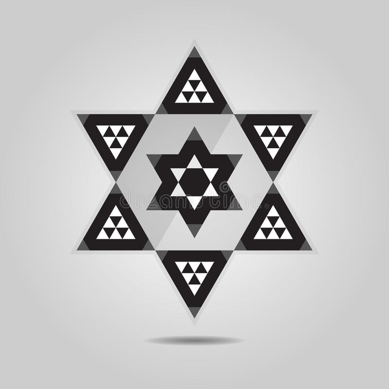 Abstrakcjonistyczna geometrical trójbok płytki hexagram ikona ilustracja wektor