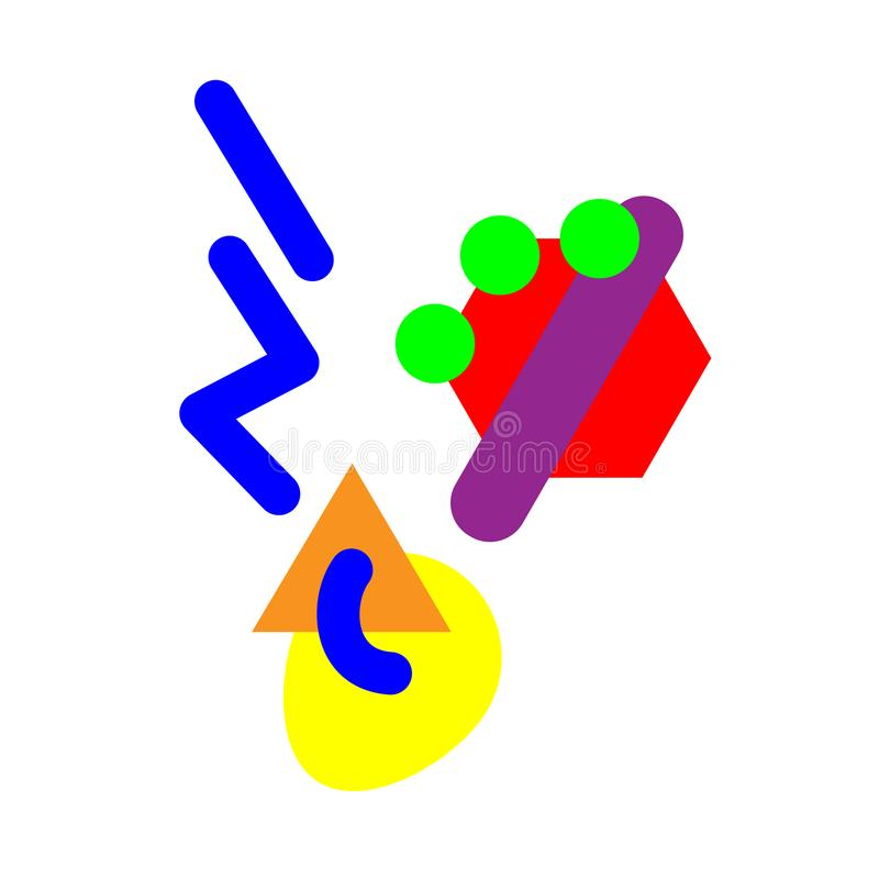 Abstrakcjonistyczna geometryczna łyżkowa ikona gorący jedzenie i kontrpara wektor button ręce s push odizolowana początku ilustra royalty ilustracja