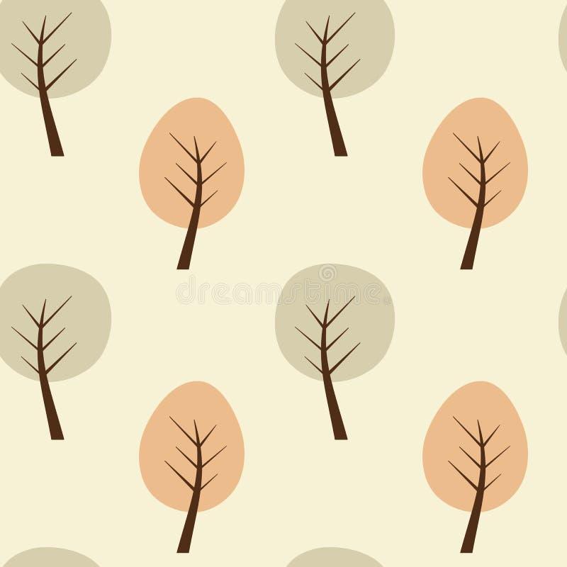 Abstrakcjonistyczna geometryczna drzewna bezszwowa deseniowa tło ilustracja royalty ilustracja