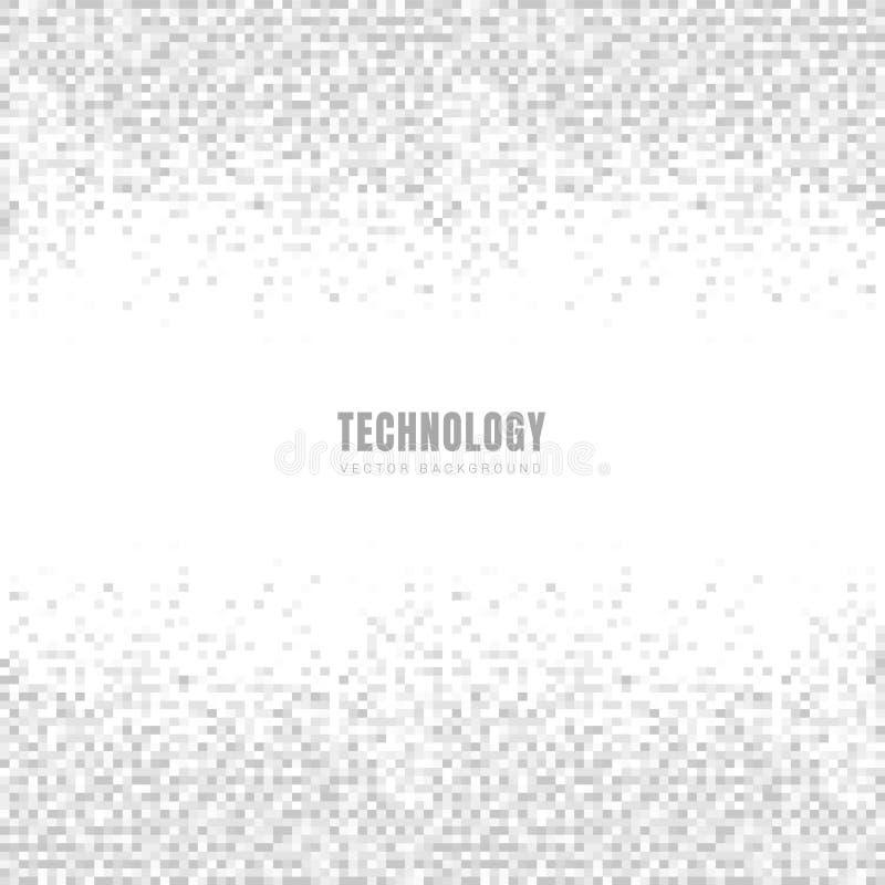 Abstrakcjonistyczna geometryczna kwadrat tekstura z przestrzenią dla teksta i deseniowy tło białych i szarych Technologia styl Mo ilustracja wektor