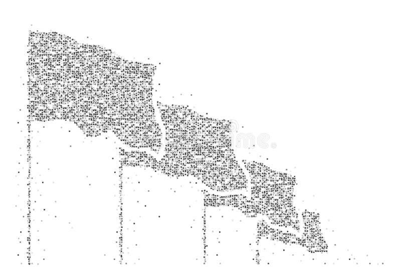 Abstrakcjonistyczna Geometryczna Kwadratowego pudełka piksla wzoru flaga grupy kształta czerni koloru ilustracja royalty ilustracja