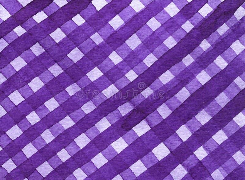 Abstrakcjonistyczna geometryczna prążkowana tekstura nieregularny szkocka krata wzór, ultrafioletowy odcień Akwareli tło w modnym ilustracja wektor