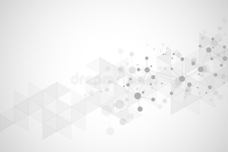 Abstrakcjonistyczna geometryczna tekstura z cząsteczkowymi strukturami i neural siecią Molekuły DNA i genetyczny badanie plexus royalty ilustracja