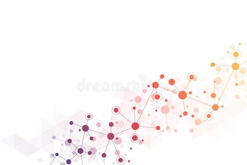 Abstrakcjonistyczna geometryczna tekstura z cząsteczkowymi strukturami i neural siecią Molekuły DNA i genetyczny badanie plexus ilustracja wektor