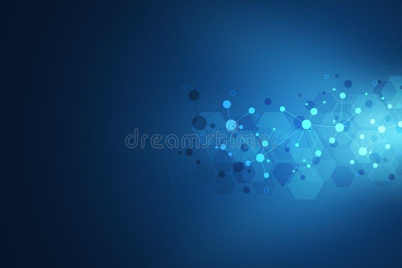 Abstrakcjonistyczna geometryczna tekstura z cząsteczkowymi strukturami i neural siecią Molekuły DNA i inżynieria genetyczna ilustracja wektor