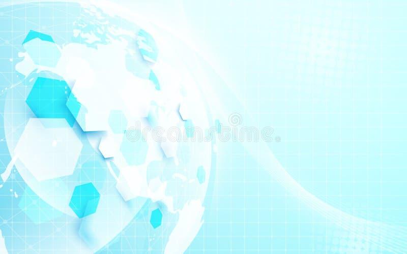 Abstrakcjonistyczna globalna mapa i geometryczna futurystyczna cyfrowa pojęcie technologia na błękitnym tle ilustracji