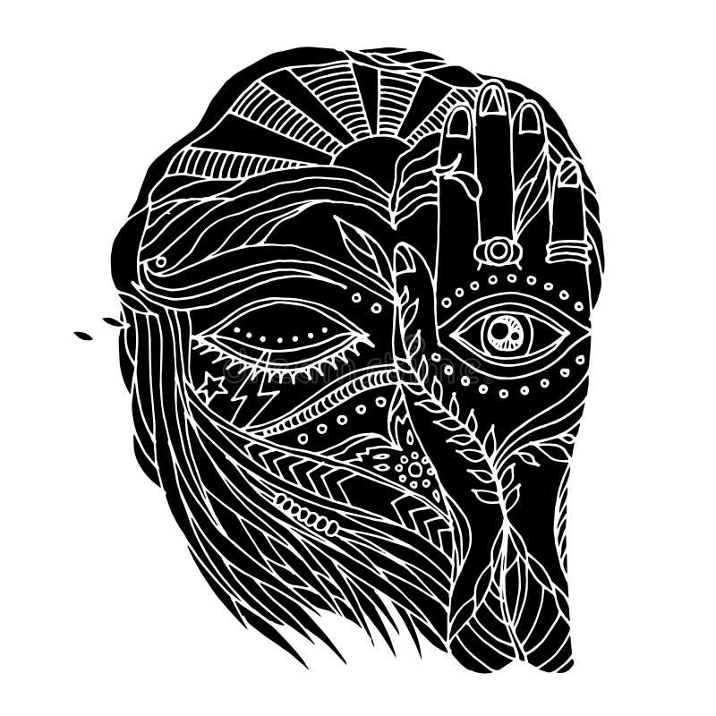 Abstrakcjonistyczna grafika otwarta, zakończeń oczy i umysł istota ludzka z naturalnym elementem, royalty ilustracja