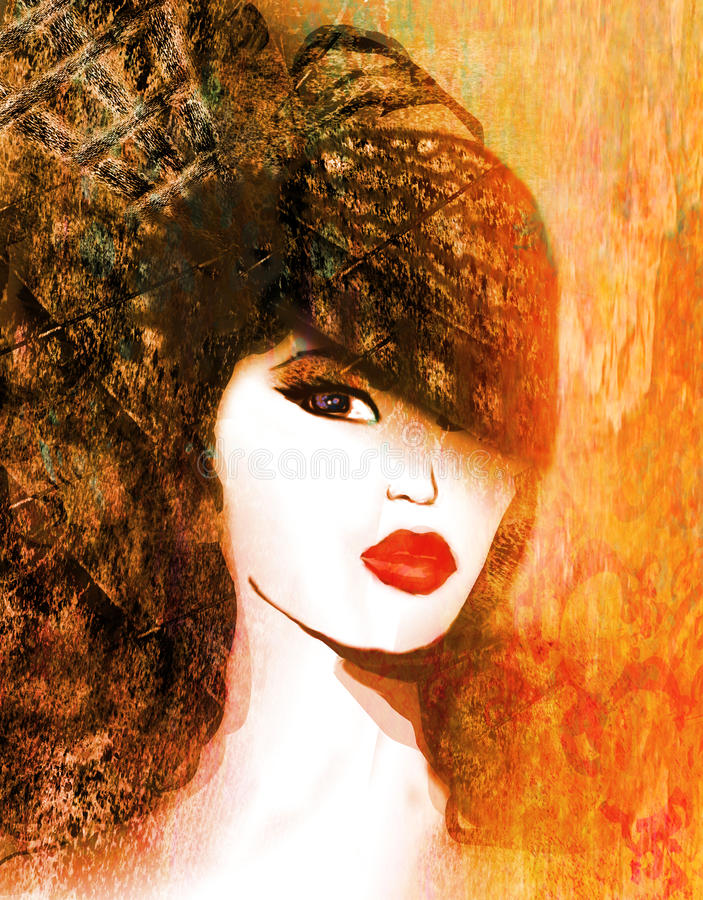 abstrakcjonistyczna grunge portreta kobieta ilustracji