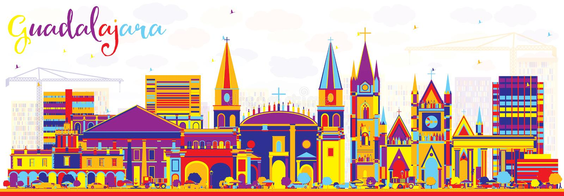 Abstrakcjonistyczna Guadalajara Meksyk linia horyzontu z kolorów budynkami ilustracja wektor